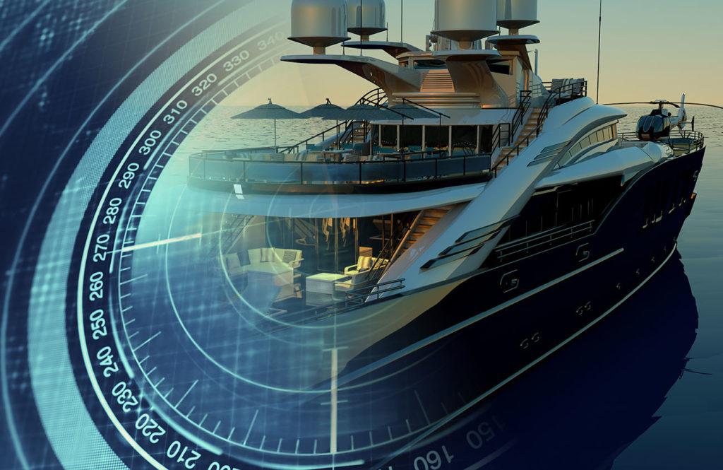 Montage illustrant un sonar en surimpression sur un yacht